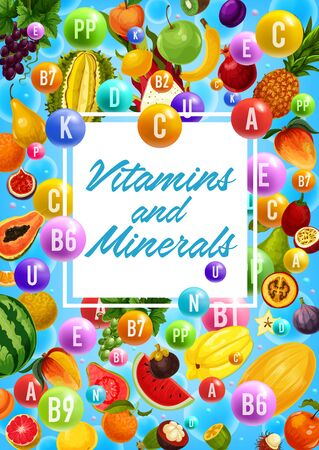 Vitamins and minerals in organic healthy fruits. Vector multivitamin complex in grape, pomegranate and orange citrus, tropical papaya and guava or pineapple, feijoa and banana, melon and apricot fruit