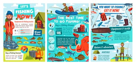 Sea fishing infographic, tackles and fish catch lures, fisher equipment rods and nets with diagrams. Vector fishing sport and fishery industry charts and fishing license information statistics Foto de archivo - 129344832
