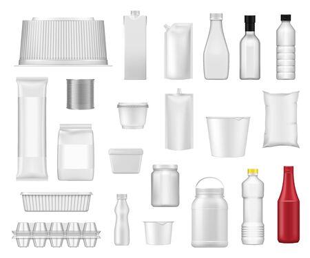Paquetes de alimentos y paquetes de cajas de plástico de productos plantillas realistas. Vector 3D botella de bebida de agua, recipiente de plástico de yogur, lata de metal y paquete de cartón de leche, botella de salsa de tomate y maquetas de paquete de mayonesa