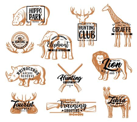 Hunting club, African safari hunt season lettering icons. Vector hippo park and rhinoceros nature reserve calligraphy badges, hunter shooting training sport and zebra safari tours, lion and giraffe 向量圖像