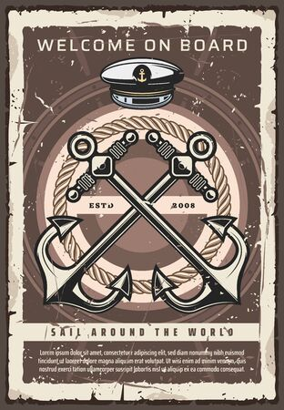 Nautical ship anchor, Welcome on board vintage poster, world sailing adventure. Vector captain hat and anchor rope, marine seafaring and nautical symbols, summer sea or ocean cruise