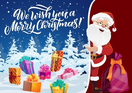 Merry Christmas greeting card, Santa Claus and winter night in forest. Vector gift boxes or presents on snow, wrapping and bow, sack or bag. Fairy elderly character in red costume, holiday celebration Foto de archivo - 129344836