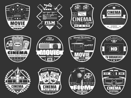 Movie festival, cinema theater premiere night and TV broadcast company. Vector cinematography icons of movie producer clapperboard, HD video camera and cinema 3D glasses, popcorn and projector Illustration