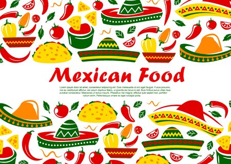 Mexican food restaurant menu cover, Mexico traditional cuisine tacos, burrito and quesadilla. Vector Mexican sombrero, spicy food, jalapeno chili pepper and nachos with tomato salsa sauce Ilustração