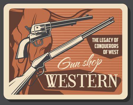 Wild West, American Western guns shop affiche vintage. Fusil de chasse de pistolet de saloon de vecteur de cowboy et fusil occidental, crâne sauvage de taureau de longhorn et munitions de tir d'héritage de conquérants Vecteurs