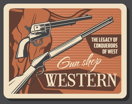 Wild West, American Western guns shop vintage poster. Vector cowboy saloon pistol shotgun and western rifle, wild longhorn bull skull and conquerors legacy shooting ammunition