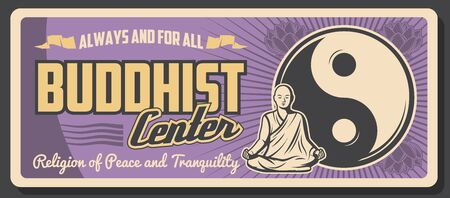 Buddhism religious center, Buddhist spiritual tranquility and Dharma enlightenment learning. Vector vintage poster of monk in yoga meditation posture with mudra hands, Yin Yang peace sign 일러스트