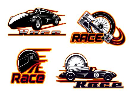 Car races, motor street racing fire flame icons. Vector sportcar bolid, engine piston valve and tire wheel in burning flame and speedometer, rally drag races championship and drift sport club badges