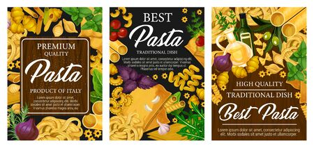 Italian pasta food restaurant menu and Italy cuisine traditional cooking spices. Vector spaghetti, penne and fusilli with farfalle macaroni, fettuccine, tagliatelle pasta with tomato and olive oil 일러스트