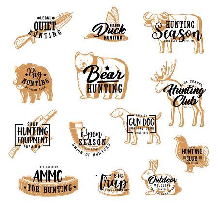 Hunter club badges, hunting season lettering icons. Vector African safari buffalo, hunter ammo equipment horn and trap for bear, bandoleer bullet cartridge, wild boar and duck, hunting dog and elk