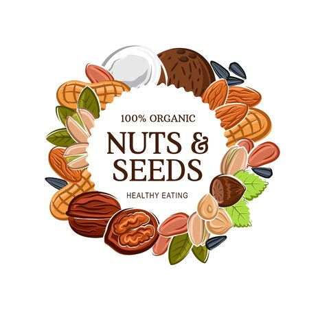 Nuts and natural grains, healthy eating and vegan diet nutrition. Vector 100 percent organic almond, peanut, hazelnut or walnut and pistachio nuts, sunflower and pumpkin seeds Ilustração