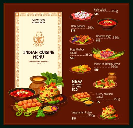 Indian cuisine menu, traditional India food and dishes. Vector dollar price menu for fish salad, perch in Bengali style and lamb skewers, bughi bahor snack with rice garnish and curry chicken Illustration