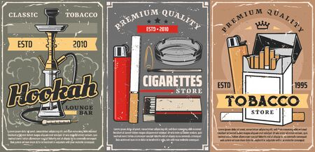 Cigars, cigarettes and premium quality tobacco store vintage posters. Vector smoking products shop, hookah and shisha lounge bar, lighter and matches box with cigarette ashtray