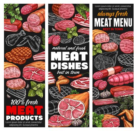 Meat products and sausages, butcher shop sketch menu banners. Vector beef, lamb and pork food delicatessen, butchery poultry turkey and chicken wings, steak sirloin, ham and bacon delicatessen