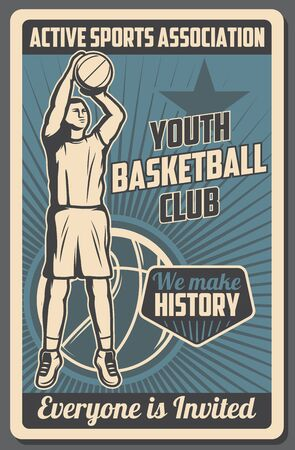 Basketball club vintage poster, youth school and college team league streetball tournament and training. Vector basketball active sport association of trainers and professional ball players Illustration