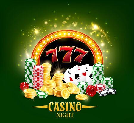 Cartel de noche de casino, cartas de juego de póquer y dados. Vector casino jackpot big win monedas de oro en efectivo, Lucky 7 y fichas de fichas de ruleta de la rueda de la fortuna, Hold Them y Texas Poker oro brillante Ilustración de vector