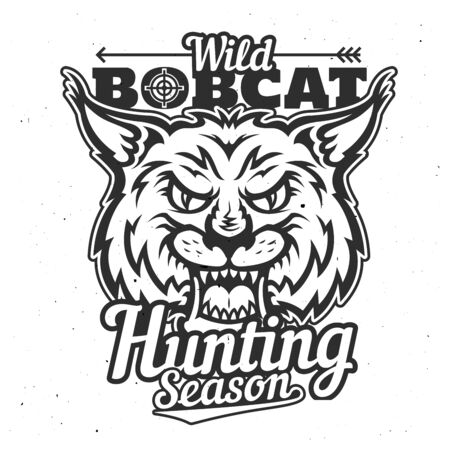 Wild bobcat icon, hunting season and hunter club badge or t-shirt print template. Vector hunt trophy lynx animal roaring with fangs and hunter crossbow arrow, sport society poster Foto de archivo - 128927593