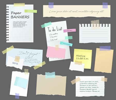 Paper notes on stickers, notepads and memo messages torn paper sheets. Vector blank sticky notepaper posts of meeting reminder, to do list and office notice or information board with appointment notes Illustration