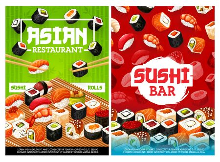 Sushi and rolls, Japanese food restaurant and bar menu covers. Vector Asian cuisine chopsticks and rolls with seafood salmon sashimi, tuna maki and caviar ikura hosomaki, ebi shrimp and ungi eel sushi