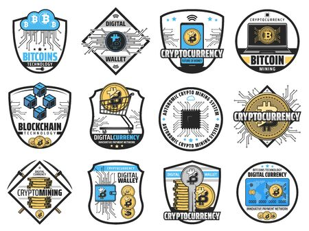 Cryptocurrency blockchain, bitcoin mining farm and digital wallet icons. Vector crypto currency network technology, autonomic mining systems and innovative bit coin exchange and payment business Vector Illustration