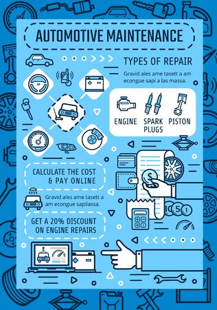 Automotive maintenance and online car service, mechanic diagnostics and repair. Vector car service online technology in vehicle engine oil change, wheel tire pumping and computer check Illustration