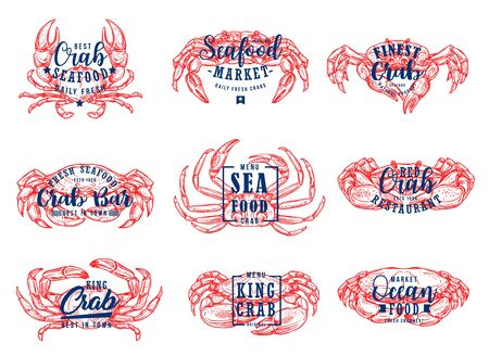 Seafood lettering, fish market and sea food restaurant icons. Vector sketch crab and lobster, seafood and ocean gourmet cuisine menu, calligraphy bar and cafe signs