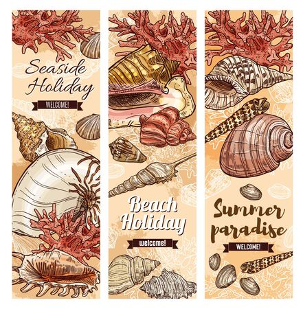 Seashells sketch banners, summer holiday and sea travel. Vector welcome to summer paradise ribbons, sea shells and corals on beach sand, seaside holiday resort or spa center Stock fotó - 128927601
