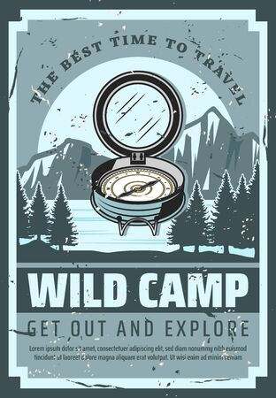 Mountain camping adventure and wild nature travel trips vintage poster. Vector tourist compass, scout expedition and extreme wilderness exploration team, holiday and vacations mountain hiking club