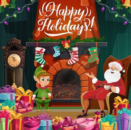 Winter holidays, Merry Christmas and Happy New Year. Vector Santa in chair with cup of tea, elf near fireplace and socks, jingle bell and holy. Garland and gifts, clock and presents, fairy characters