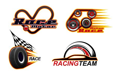 Car races, motor speed show and street racing icons. Vector car race heart track, engine and tire wheel with burning flame and speedometer, drag races championship and drift sport club badges