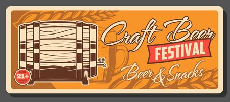 Craft beer festival, Oktoberfest party vintage poster. Vector draught craft beer wooden barrel, wheat and barley hop with beer pint mug, premium brewery and brewing house fest