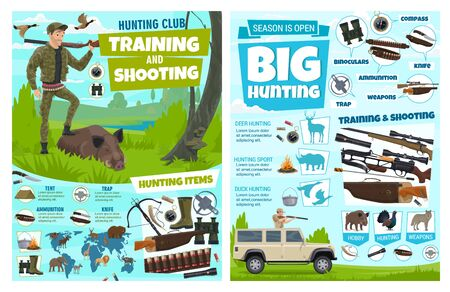 Hunting infographic, African safari hunt wild animals and hunter ammo. Vector hunting club training and shooting equipemnt, wold hunt ammunition items and trophy animals information