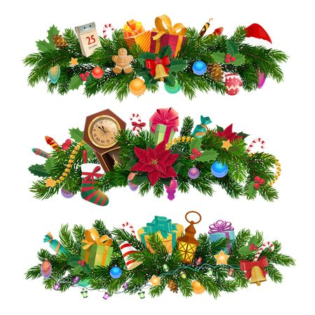 Composiciones y decoraciones navideñas, ramas de árboles de Navidad. Vector abeto, reloj y planta de acebo, guirnaldas y bolas, niño de pan de jengibre y fuegos artificiales. Cascabeles y calcetines, cajas de regalo y calendario.