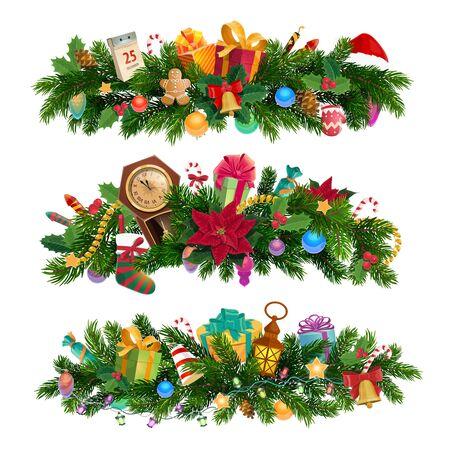 Weihnachtskompositionen und -dekorationen, Weihnachtsbaumzweige. Vektortanne, Uhr und Stechpalme, Girlande und Bälle, Lebkuchenjunge und Feuerwerk. Jingle Bells und Socken, Geschenkboxen und Kalender