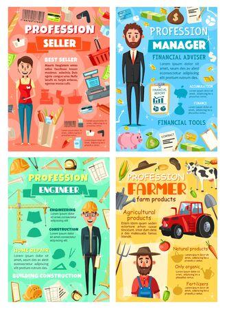Zawody sprzedawcy i menedżera biznesu, rolnika i menedżera biznesu. Wektor kreskówka wózek na zakupy supermarket, pieniądze i kontrakty, hodowla rolnictwa i bydła, narzędzia budowlane i budowlane