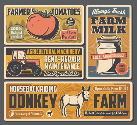 Farm tomatoes, agricultural dairy products, tractor and riding on donkeys. Vector natural food production, agriculture. Milk and vegetables harvest, livestock