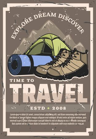 Time to travel and expedition, retro vector design. Touristic tent, hiking boots and sporting mat with straps to backpacking. Mountains and sport equipment, sneakers shoes and canopy temporary home Çizim