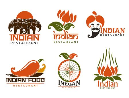 Indian restaurant isolated symbols and icons. Vector three elephants at sunset, lotus flower and man in turban with beard. Chilli pepper and buddhism spiritual meditation, wheel and national cuisine symbols Stock Illustratie