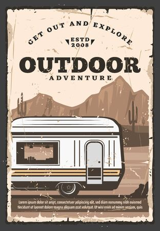 House on wheels trailer van, vector. Camping mobile house in desert with mountains and cactuses, recreational vehicle. Outdoor adventure, traveling caravan, cabin with window Standard-Bild - 129654825