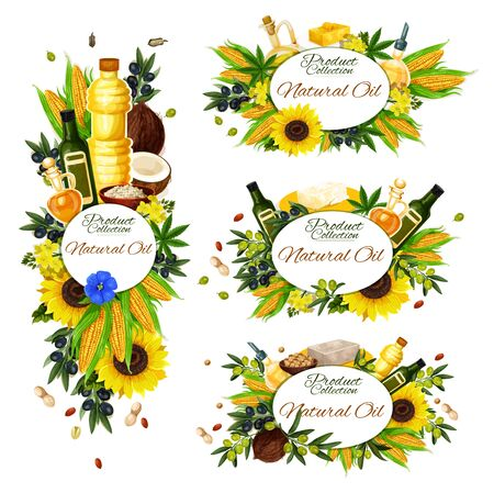 Natural cooking oil, isolated frames. Vector extra virgin olive oil in bottle, corn and coconut, sunflower, peanut, linseed flax. Jars with organic hazelnut, rapeseed dressing, vegetarian food Ilustracja