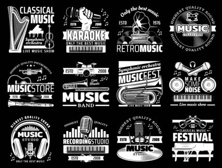 Vector musical instrument stores and shops, symphonic orchestra harp and piano, karaoke club, live music icons. Retro vinyl discs and record studios, microphones and headphones