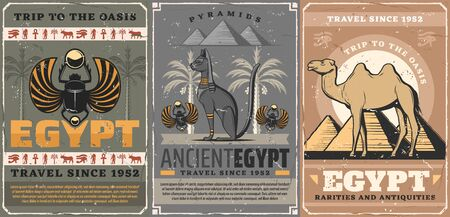 Egypt travel, religion and culture symbols. Vector egyptian scarab bug symbolic beetle, camel and pyramids, black cat. Scarabaeus sacer, Horus eye and Anubis, coptic cross and palm trees, retro style