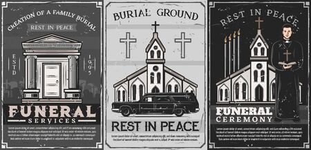Funeral and burial service, family crypt, catholic church and priest in vector. Burial ceremony arrangement, clergyman in cassock, hearse. Chapel with crematorium, cemetery graveyard and tomb