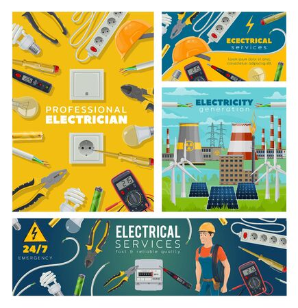 Electrical services and electrician, power plant generation. Vector engineer, sockets and light bulbs, pliers, screwdriver and cable. Electric equipment and tools, nuclear factory, voltmeter