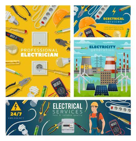 Services électriques et électricien, production de centrales électriques. Ingénieur vectoriel, douilles et ampoules, pinces, tournevis et câble. Équipements et outils électriques, usine nucléaire, voltmètre