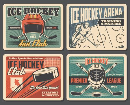 Ice hockey sport association and training equipment, retro style. Vector puck flying to gates on arena, player in helmet with stick. Goalkeeper protective helmet and crossed sticks