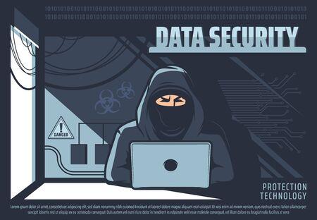 Seguridad de datos, hombre trabajando en equipo, tecnología de protección. Hombre de vector que trabaja en la computadora portátil, el pirata informático en máscara obtiene acceso no autorizado a los datos. Esquemas y autorización, acceso al sistema de almacenamiento.