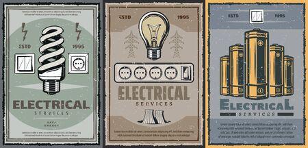 Servicio eléctrico, bombillas de bajo consumo, enchufes e interruptores, vector de baterías eléctricas. Ahorre energía, mantenimiento de electricidad, suministros eléctricos y torre de transformadores, industria de energía