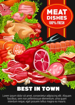 Meat and poultry dishes of beef, pork, lamb and greens. Vector sausages and cutlery, butchery products. Bacon and salami, chicken and ribs, pepperoni and brisket, frankfurter, barbeque patty, lettuce