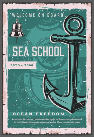 Sea school, diving aqualung and ship anchor. Vector scuba diving trainings, instructor and nautical seafarer sailing. Maritime travel advertisement and water orientation activity